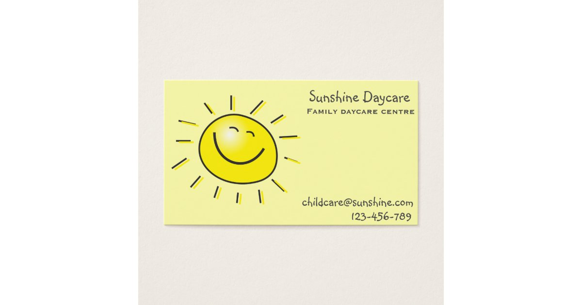 Sunshine family daycare centre childcare business card | Zazzle.com