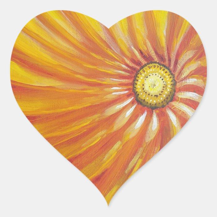 Sunshine Flower Good Morning Heart Sticker Zazzle Com