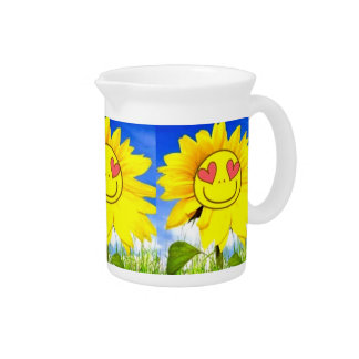 Sunshine flower, i love you so, funny happy bliss drink pitcher