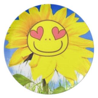 Sunshine flower, i love you so, funny happy bliss plate