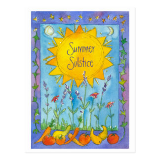 Sunshine Fruits Watercolor Flowers Summer Solstice Postcard