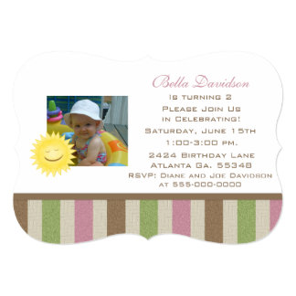 Sunshine: Girly Nature Stripes Party Invitation