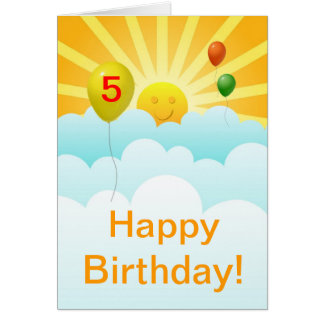 Sunshine Happy Face and Balloons Birthday Age Spec Greeting Card