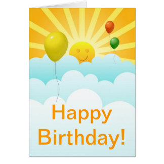 Sunshine Happy Face and Balloons Birthday Card