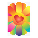 Sunshine Heart Flower Personalized Stationery