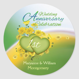 Sunshine Hearts 1st Wedding Anniversary Party Classic Round Sticker