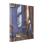 Sunshine in the Blue Room by Ancher, Vintage Art Stretched Canvas Print