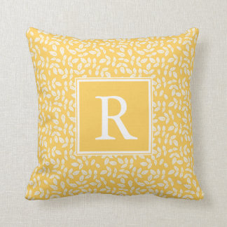 Sunshine Leaves Monogram Decorative Pillow