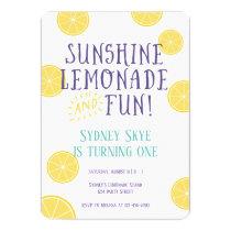 Sunshine Lemonade and Fun kids Birthday party Invitation
