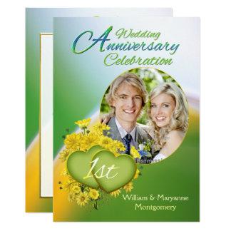 Sunshine Love 1st Wedding Anniversary Party Photo Card