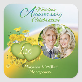 Sunshine Love 1st Wedding Anniversary Party Photo Square Sticker