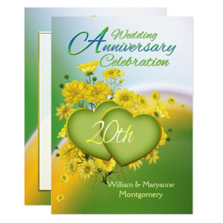 Sunshine Love 20th Wedding Anniversary Party Invitation