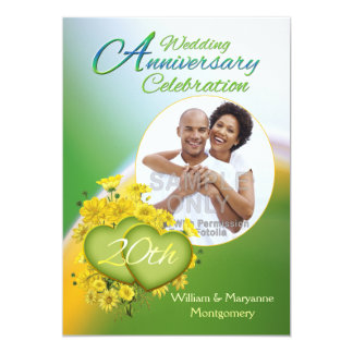 Sunshine Love 20th Wedding Anniversary Party Photo Card