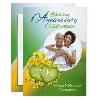 Sunshine Love 20th Wedding Anniversary Party Photo Invitation