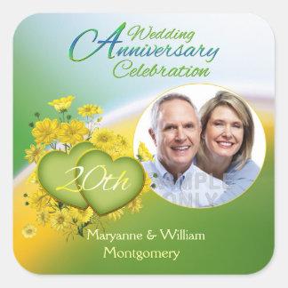 Sunshine Love 20th Wedding Anniversary Party Photo Square Sticker