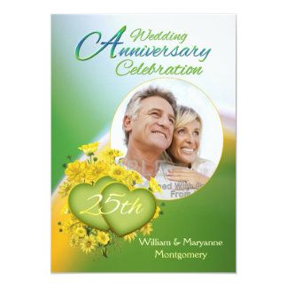 Sunshine Love 25 Wedding Anniversary Party Photo Card