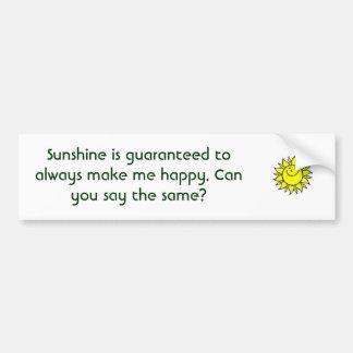 Sunshine makes me happy bumper sticker