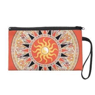 Sunshine mandala wristlet purse