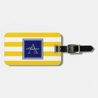 Sunshine Monogrammed Awning Stripe Luggage Tag