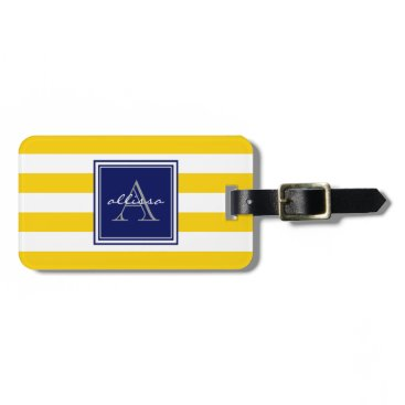Beach Themed Sunshine Monogrammed Awning Stripe Luggage Tag