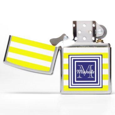 Beach Themed Sunshine Monogrammed Yellow White Awning Stripe Zippo Lighter