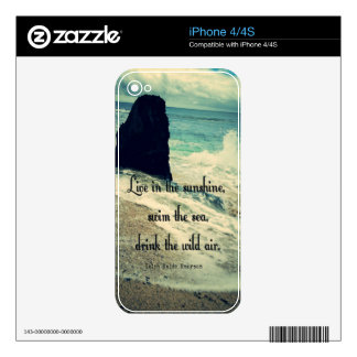 Sunshine ocean sea quote decals for iPhone 4