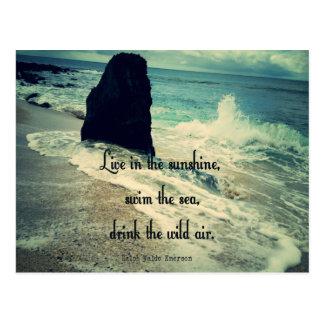 Sunshine ocean sea quote postcard