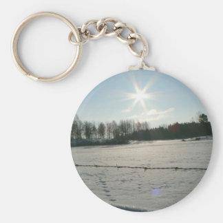 Sunshine On Cattle Field Basic Round Button Keychain