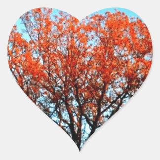 Sunshine on the fall tree top heart sticker