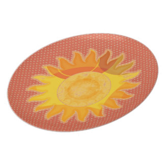 Sunshine Orange Polkadot Plate