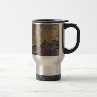 Sunshine over craggy landscape travel mug