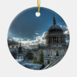 Sunshine over St. Paul's Cathedral, London Double-Sided Ceramic Round Christmas Ornament