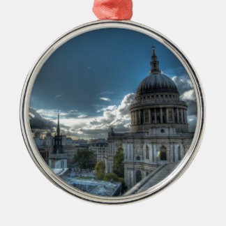 Sunshine over St. Paul's Cathedral, London Round Metal Christmas Ornament