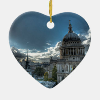 Sunshine over St. Paul's Cathedral, London Double-Sided Heart Ceramic Christmas Ornament
