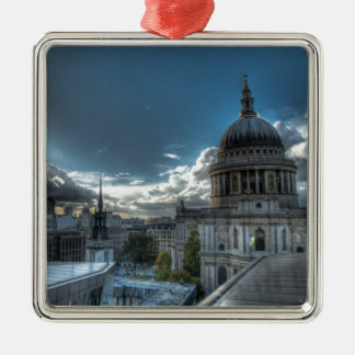 Sunshine over St. Paul's Cathedral, London Square Metal Christmas Ornament