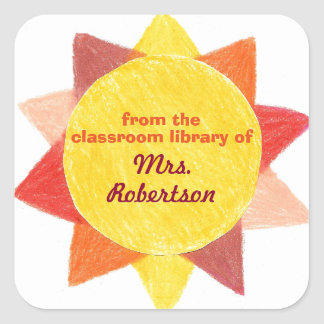 Sunshine personalized teacher gift bookplate