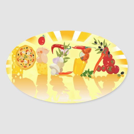 Sunshine Pizza Oval Stickers