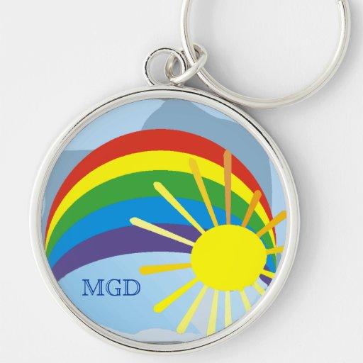 Sunshine rainbow abstract art monogram keychain