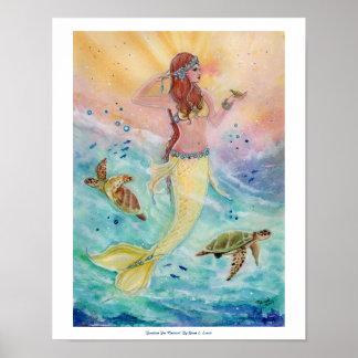 Sunshine Sea Mermaid poster by Renee Lavoie