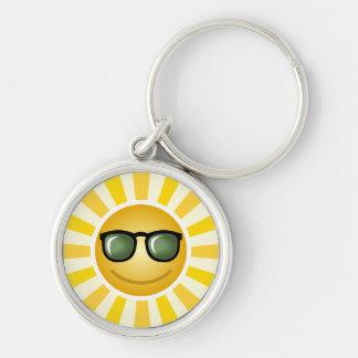 Sunshine Silver-Colored Round Keychain