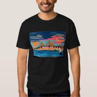 Sunshine Skyway Bridge Pop! painting on a Men Shir Tee Shirt