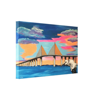 Sunshine Skyway Bridge Pop! painting on a wrapped Canvas Print