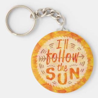 Sunshine Summer Orange Painted Follow Sun Colorful Keychain
