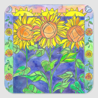 Sunshine Sunflowers Watercolor Flower Painting Square Sticker