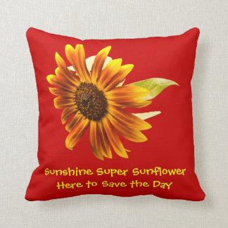 Sunshine Super Sunflower on Red  Pillow