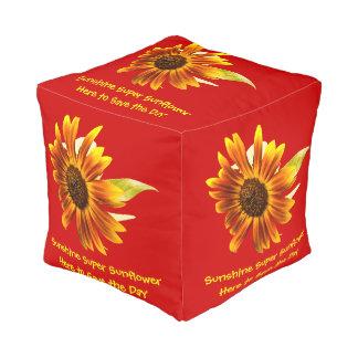 Sunshine Super Sunflower Square Pouf Cube Pouf