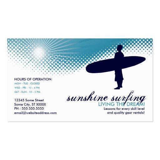 sunshine surfing business card templates