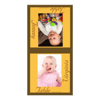 Sunshine & Taupe Bride & Groom Table Card