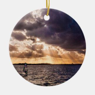 Sunshine Themed, A Person Parasails Under A Sky Fu Ceramic Ornament