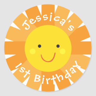 Sunshine Themed Birthday Sticker- Bday Labels